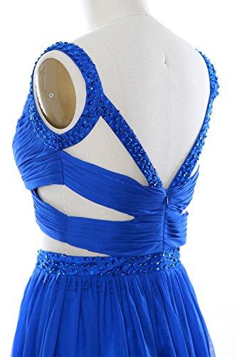 MACloth Women 2 Piece Long Prom Dress Chiffon Sexy Homecoming Party Formal Gown Aqua