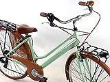 Bicicletta Donna retrò Vintage City Bike Ruote 28″ con Cambio Shimano 6 velocità/Verde Pistacchio