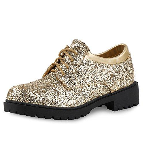 SCARPE VITA Damen Halbschuhe Lack Metallic Glitzer Schnürer Dandy Style Schuhe 155286 Gold Lack 40