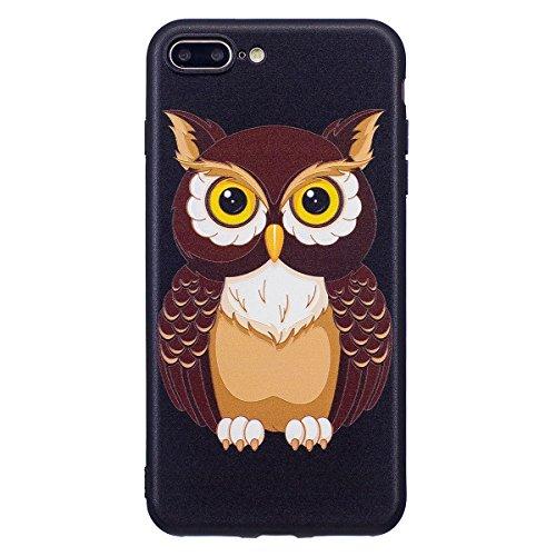 "MOONCASE iPhone 7 Plus Hülle, [Relief Pattern] Durable TPU Schutzhülle Ultra Slim Elastische Rüstung Anti-Kratzer Defender Case Cover für iPhone 7 Plus 5.5"" Panda Big Owl"