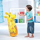 Cucuba® BESTWAY 52152 BOP BAGS AUSBLASBARER TIERE BOXSACK 91CM PUNCHING BALL KAMMER ZUM BEFÜLLEN MIT SAND FÜR MAXIMALE STABILITÄT GEEIGNET FÜR KINDER AB 3 JAHREN - GESCHENKIDEE (Ausblasbarer Boxsack Giraffe)
