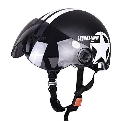 Fastar Casco de moto Casco de motocicleta medio abierto cara tamaño ajustable de cinco puntas cascos estrella (Negro)