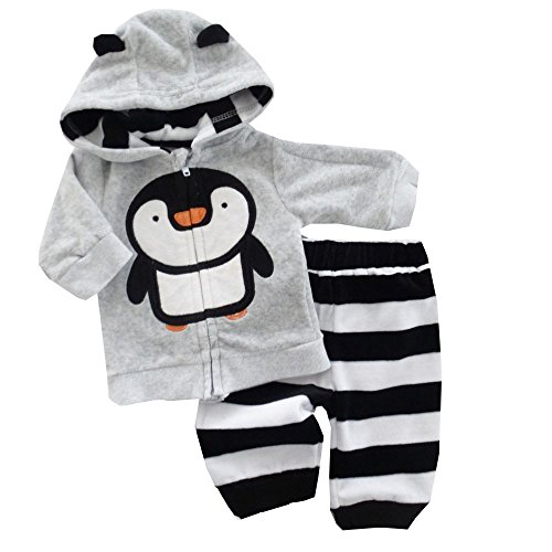 PitterPatter Baby Set Hose + Jacke grau | Motiv: Pinguin | Babyset 2 Teile für Neugeborene & Kleinkinder | Größe: 3-6 Monate (62/68) Jacke Und Hose