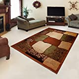 "Rug ROYAL Brown Modern Design Best Price High Quality Living Room S - XXL Frame Pattern 110 x 265 cm (3ft8"" x 8ft9"")"