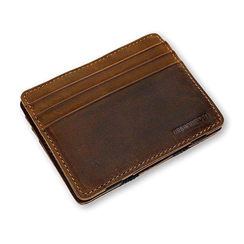 URBANHELDEN - Magic Wallet - Magischer Geldbeutel mit RFID Schutz - Portemonnaie aus echtem Büffelleder - Kreditkartenhalter Ausweisetui - Portmonee Herren - Braun -