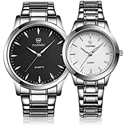 Valentine's Day Gifts, Hansee Lovers' Watches, Stainless Steel Band, 2 Pcs Fashionable Waterproof Quartz Watch(White)