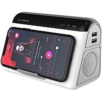MJW Lámpara De Cabecera con Altavoz Bluetooth Y Cargador Inalámbrico, 2-En-1 Qi Fast Cargador Inalámbrico, Altavoces Estéreo Bluetooth
