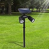Lámparas Solares Focos LED Exterior 6 LED 350 Lúmenes Luces Brillante Impermeable IP65 Lámparas de Seguridad Solar Ajustable con 2 Modos para Jardín Patio Pathway Terraza Calzada Cesped Paisaje
