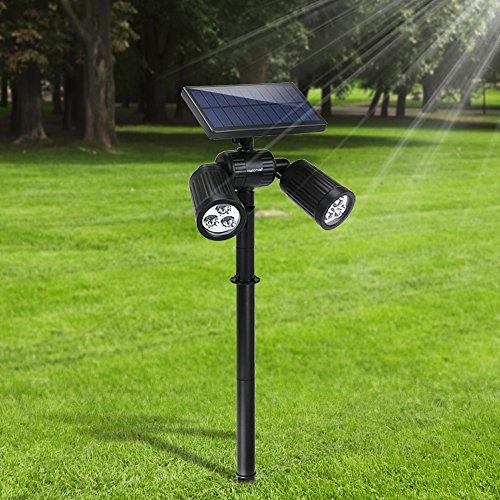 [Upgraded 350Lumen] Gartenleuchten 6LED Außenbeleuchtung Weißhelle Solarleuchten Verstellbare Wasserdichte Spotlight für Wände Boden Garten Outdoor Landscape Yard Rasen Pathway