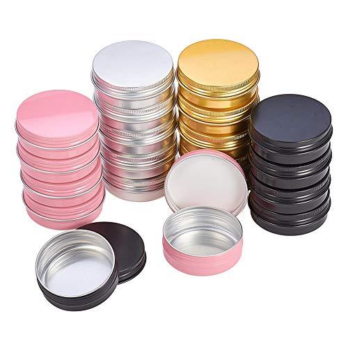 Pandahall elite 28 pezzi 4 colori in scatola di alluminio tondi per contenitori per gioielli anniversario di matrimonio bomboniere