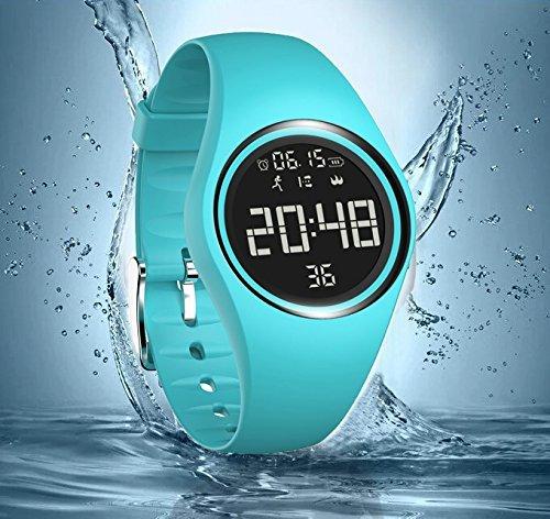 Armbanduhr und Fitness-Armband, wasserdicht IP68, zum genauen Verfolgen von Schritten, Entfernungen und Kalorien, mit Timer-Funktion, zum Laufen, Rennen für Damen und Herren (ohne Bluetooth) (blau)
