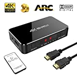 SOWTECH 4 x 1 HDMI Switch 4K avec Audio Optical TOSLINK Out - 4 Ports Ultra HD 4K x 2K HDMI Commutateur Audio Extractor avec Télécommande IR [Supporte ARC | 3D 1080p] pour Macbook/HDTV/Laptop