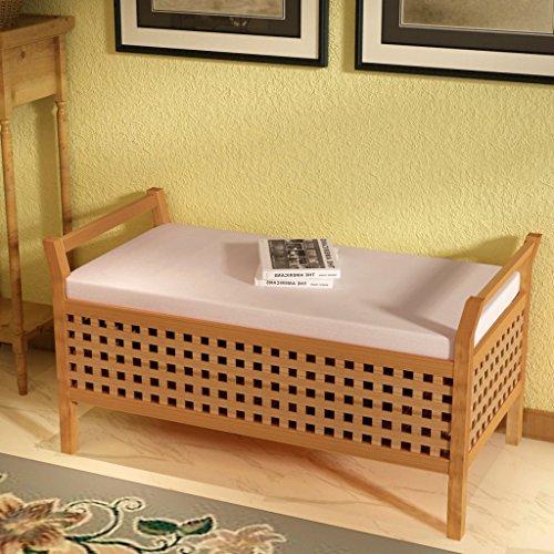 Festnight Sitzbank Holz Truhenbank mit Stauraum aus Massives Walnussholz Multifunktionsbank 93x49x47cm Sitzkomfort für Flur Schlafzimmer oder Bad - 2