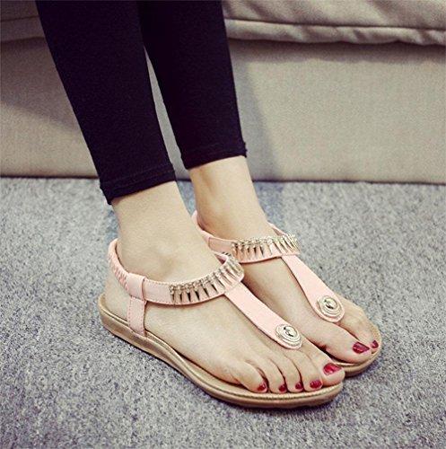 Frau offene Sandalen Wort Stil Strand lässige Schuhe, flache Schuhe wilde Schüler Pink