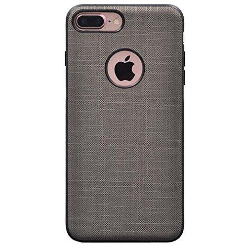 Iphone 7 Plus Leder-Pu + Hart Pc Hüll,SUNAVY Luxus Dreifachschutz Stoffmuster Handyhülle Schutzhülle mit ein Gehärtetes Displayschutzfolie und Eingebauter Magnet für Apple7 plus,5.5zoll,Schwarz Grau