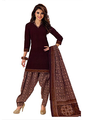 Miraan Women's Cotton Dress Material (SG524_Brown_One Size)