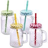 Paquete de 4 vasos con tapa, mango y paja Pajita Vasos de vidrio Vaso de agua Cóctel 500ml Jarra de bebida Vintage Retro Garden