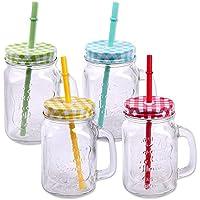 Schramm Paquete de 4 vasos con tapa, manija y paja Pajita Vasos de vidrio Vaso de agua Cóctel 500ml Tarro de bebida Vintage Retro