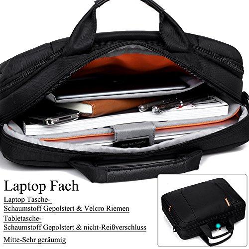 BRINCH 15,6 Zoll neue weiche Nylon stoßfest Laptop Computer Umhängetasche Messenger Bag Aktentasche mit Taschen & Griffe und abnehmbaren gepolstertem Schulterriemen für 15 - 15,6 Zoll Laptop / MacBook Schwarz
