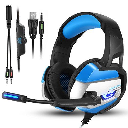 PS4 Gaming Auriculares para Juegos de PC con Micrófono, Onikuma K5 Auriculares Estéreo de 3,5 mm con Control de Volumen de Micrófono para Xbox One, Nuevo Ordenador Portátil Mac PlayStation 4 (Azul)