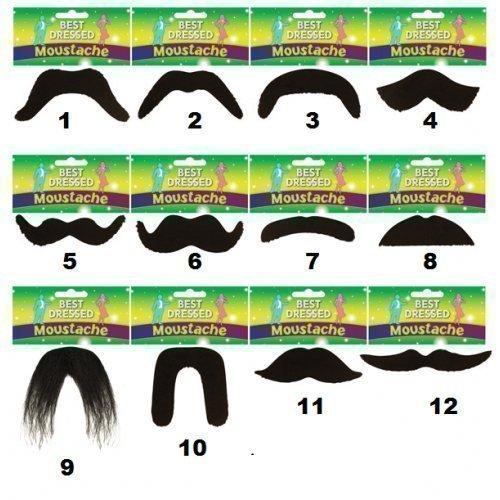 Und Luigi Outfit Mario (Herren Damen Schwarz Zum Aufkleben 1970s 118 118 Mario Luigi Mexikanisch Moustache Kostüm Kleid Outfit - 11, Eine)