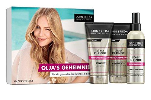 John Frieda Sheer Blonde Perfekte Reparatur - Secret Blogger Box Olja 550 ml - Inklusive 1 Gratisartikel - Inhalt: Shampoo (175 ml), Conditioner (175 ml) und gratis Sprühkur (200 ml) -
