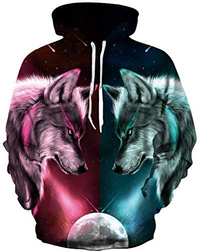 Ocean Plus Jungen Langarm Galaxis Kapuzenpullover Bunt Casual Sweatshirts Pullover mit Kapuzen Pulli für Kinder Hoodie (S/M (Erwachsenengröße: 165-175cm), Zwei Wölfe Konfrontation) -