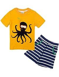 Backbuy Chicos' Verano 2 piezas Manga corta Conjunto de pijama Algodón Camisa y pantalones cortos