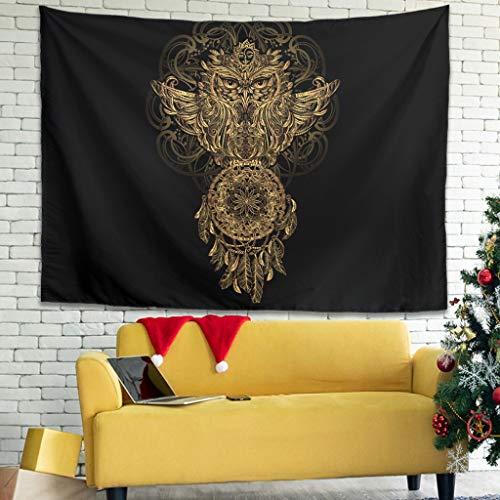 Búho atrapasueños tapiz de pared colgador toalla de pared Tapestry tapicería decoración de pared para dormitorio salón como toalla de playa mantel 200x150cm Negro
