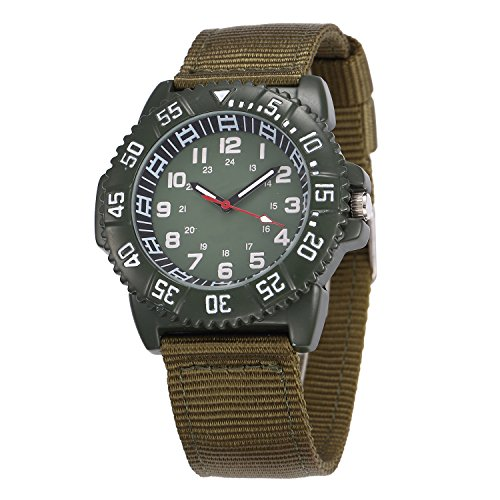 Image of WOLFTEETH Water Resistance Outdoor Sport Quartz Wrist Watch Military Pilot Aviator Army Style With Breathable Canvas Strap Unisex Style Military Green 3019