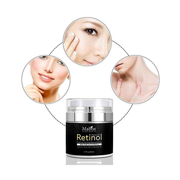 Crema hidratante para rostro con retinol, de Pawaca, fórmula antienvejecimiento que reduce las arrugas y líneas finas,vitamina A, D, E, 50 ml, con 2,5 % de retinol activo, ácido hialurónico, té verde