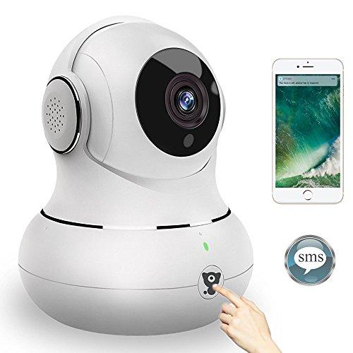 Littlelf Überwachungskamera Innen Wlan Handy für Home Wlan IP Kamera WiFi Wireless IP Camera Indoor mit 3D Panorama und Deutscher App/Anleitung Home Überwachungskamera HD 720P mit Nachtsicht,Unterstützt Fernalarm,Bewegungserkennung,2-Wege-Audio