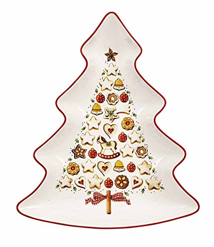 Villeroy & Boch Winter Bakery Delight Große Schale in Baum-Form, Premium Porzellan, Weiß/Rot