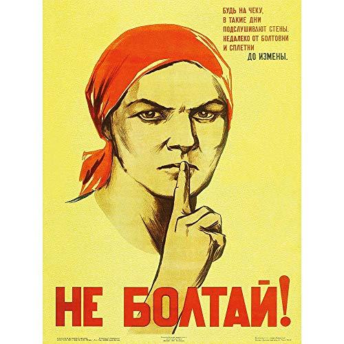 Wee Blue Coo LTD War Propaganda Ww2 Soviet Union Gossip Vintage Retro Advertising Art Print Poster Wall Decor Kunstdruck Poster Wand-Dekor-12X16 Zoll -