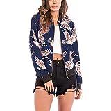 ESAILQ Damen Vogel-Druck-Bluse Mode Baseball Mantel Zipper Jacke(XXL,Blau)