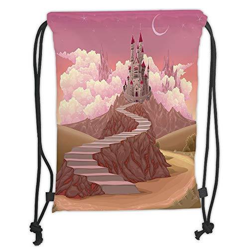 WTZYXS Drawstring Sack Backpacks Bags,Fairytale Decor,Princess Castle Cartoon Like Image on The Hill with Sunset Image Art Printtring Closur,5 Liter Capacity,Adjustable.