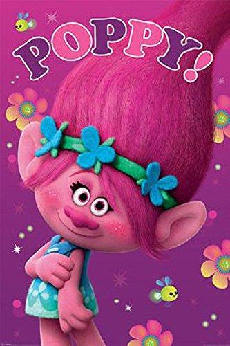 Trolls Poster Poppy! (61cm x 91,5cm) + 2 St. schwarze Posterleisten mit Aufhängung