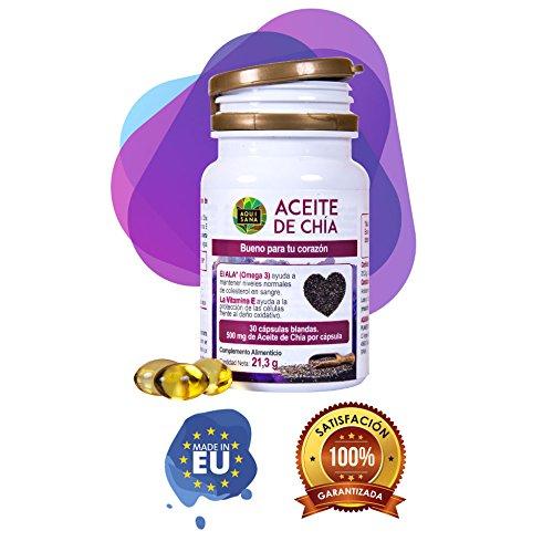 Aceite de Chía para la salud de nuestro organismo - Complemento alimenticio de cápsulas de chía 100% natural - Extracto de semillas de chía con omega 3, 6 y 9 y vitamina E - 30 cápsulas
