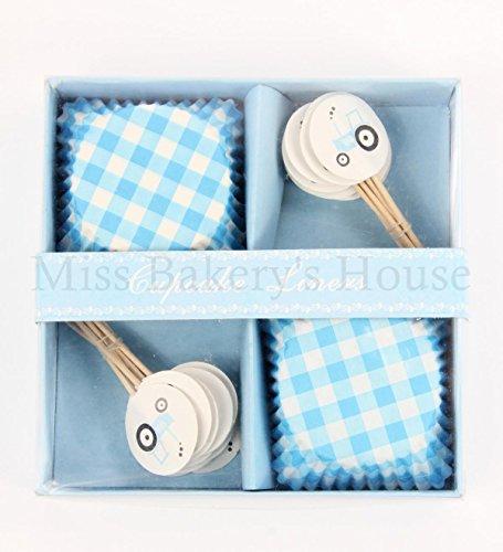 Miss Bakery's House® Papierbackförmchen - Standard mit Topper - Baby Boy - 24 + 24 Stück