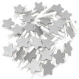 30mm Mini-Wäscheklammern weiß mit 18mm Silber Sterne Craft für Shabby Chic Hochzeit und Weihnachten, holz, silber, 30 mm