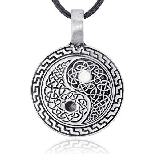 sches Yin Yang Symbol Anhänger Halskette in irischem Knoten Design, feinster Zinn Metall Modeschmuck (Yin Yang Kostüm)