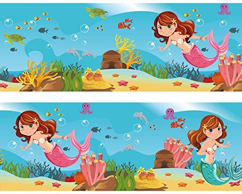 "Kleisterbordüre ""kleine Meerjungfrau"", 4-teilig 520x15cm, Tapetenbordüre, Wandbordüre, Borte, Wanddeko,Unterwasser , Kinder"
