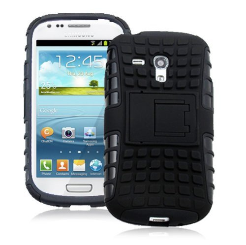Heartly Flip Kick Stand Hard Dual Armor Hybrid Bumper Back Case Cover For Samsung Galaxy S3 Mini i8190 - Black  available at amazon for Rs.399
