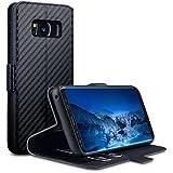 Galaxy S8 Cover, Terrapin Leder Tasche Case Hülle im Bookstyle mit Standfunktion Kartenfächer für Samsung Galaxy S8 Hülle Schwarz Karbonfaser Dessin