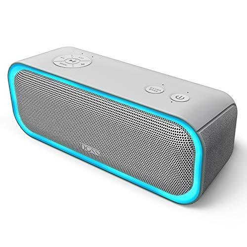 Enceinte Bluetooth Portable DOSS avec Effets Lumière, Haut-Parleur 20W sans Fil, Autonomie 12H, Technologie TWS,Port USB, Aux et SD,Compatible avec Téléphone Android iOS et Tablettes, Gris