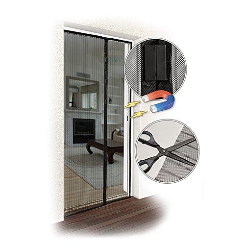 Jarolift zanzariera a tenda magnetica per porte, 140 x 250 cm nero, accorciabile in altezza e larghezza