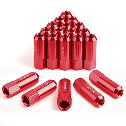 YITAMOTOR 20pcs Red 12x1.5 Open End Bulge Acorn Lug Nuts - 19mm Hex - Cone Seat - 2.36