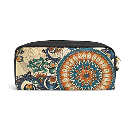 zzkko Tribal Ethnic Floral Leder Reißverschluss Federmäppchen Pen Stationäre Bag Kosmetik Make-up Bag Tasche Geldbörse (Leder Pouch Kleine Pen)