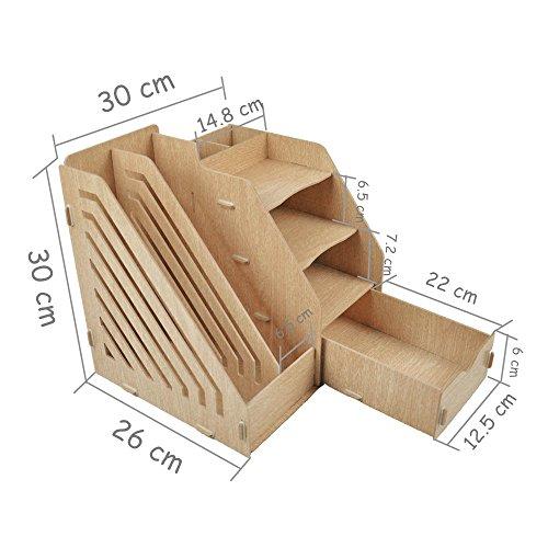 HomJoy Multi-Functional Wooden Desktop Organiser, DIY Desk