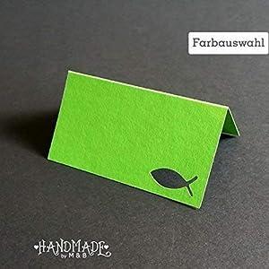 10 Tischkarten Platzkarten Namenschilder Farbauswahl Taufe Kommunion Konfirmation
